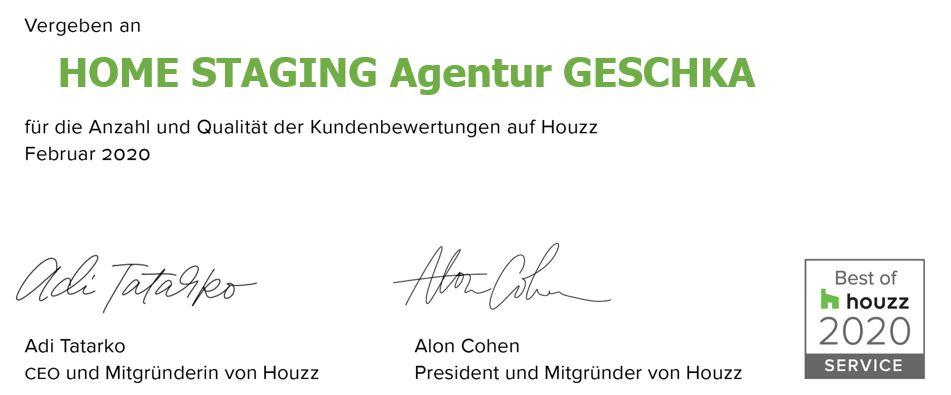 Houzz Award 2020 Auszeichnung homestaging Agentur Geschka